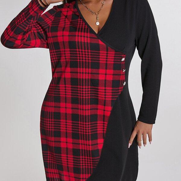 Plus Tartan Print Button Front Dress, Multicolor