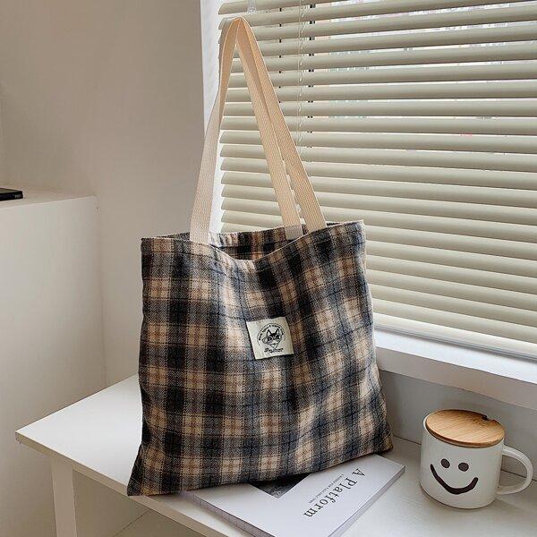 Plaid Pattern Shopper Bag, Multicolor