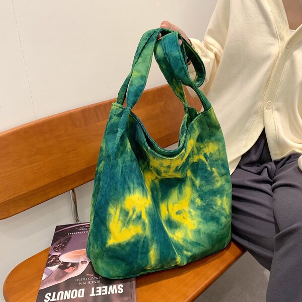 Tie Dye Pattern Large Capacity Shopper Bag, Green