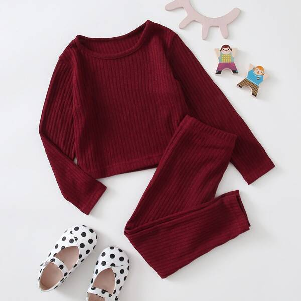 Girls Ribbed Knit Top & Leggings, Burgundy