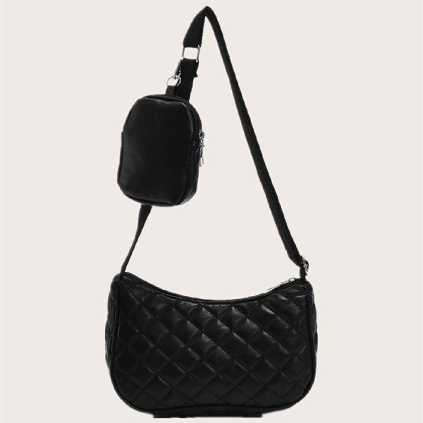 Quilted Pattern Shoulder Bag With Coin Case, Black