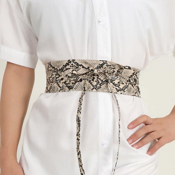 Snakeskin Print Corset Belt, Multicolor