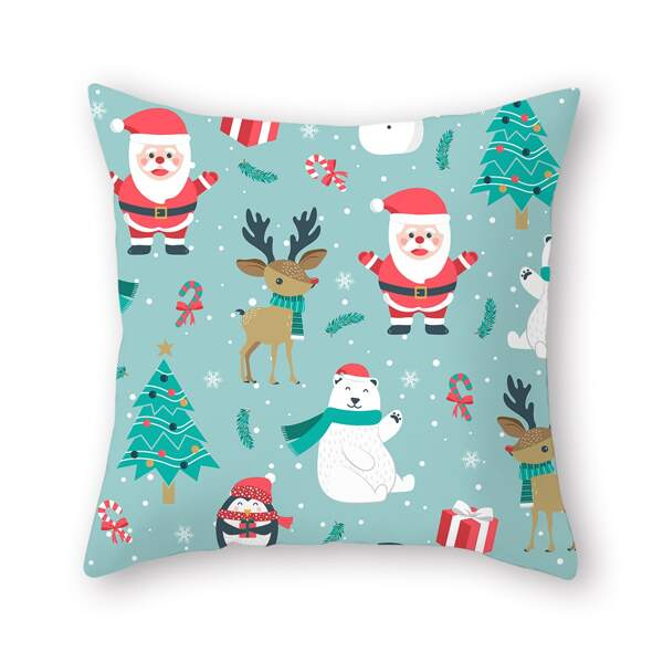 Christmas Cartoon Graphic Cushion Cover Without Filler, Multicolor