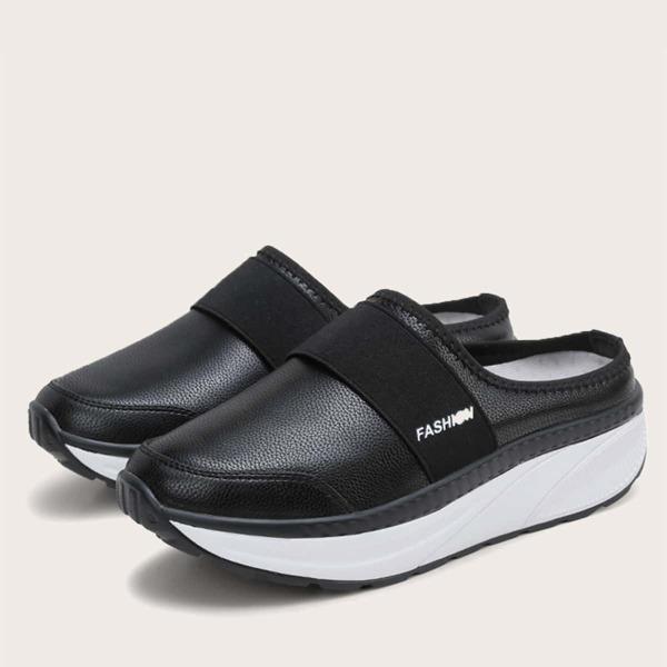 Letter Graphic Flatform Slipper Sneakers, Black