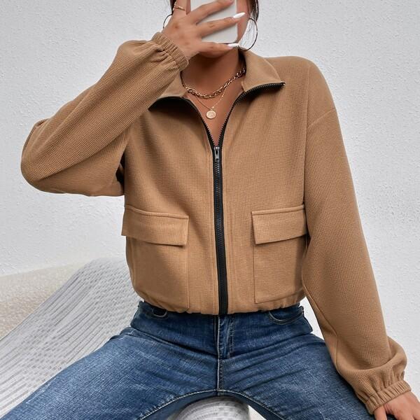 Zip Up Drop Shoulder Flap Pocket Jacket, Khaki