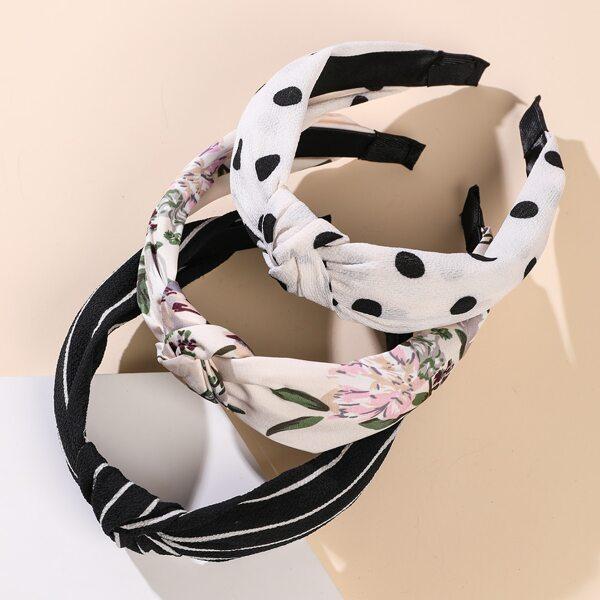 3pcs Toddler Girls Flower Pattern Headband, Multicolor