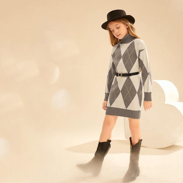 Girls Argyle Pattern Turtleneck Drop Shoulder Sweater Dress Without Belt, Multicolor