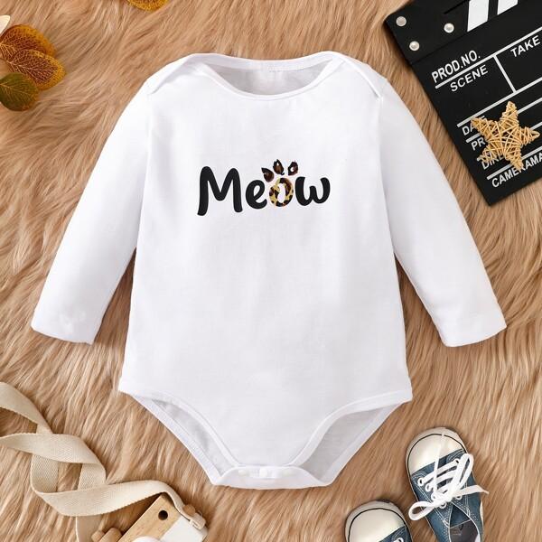 Baby Letter & Paw Print Bodysuit, White
