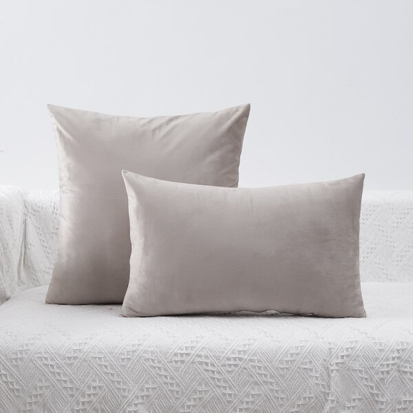 1pc Plain Cushion Cover Without Filler, Khaki