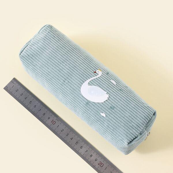 1pc Swan Print Pencil Bag, Baby blue