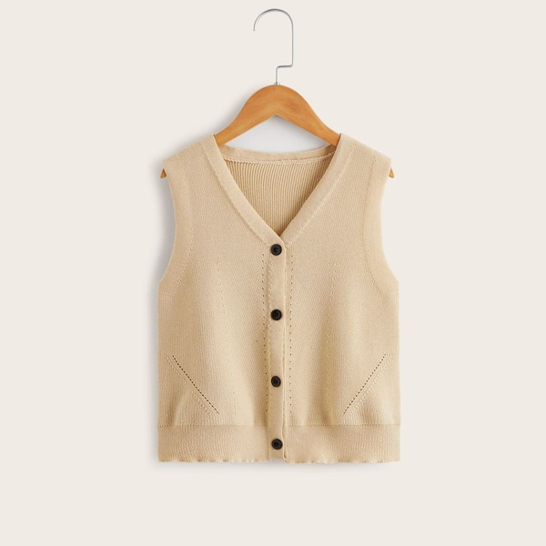 Girls Button Front Solid Cardigan, Apricot