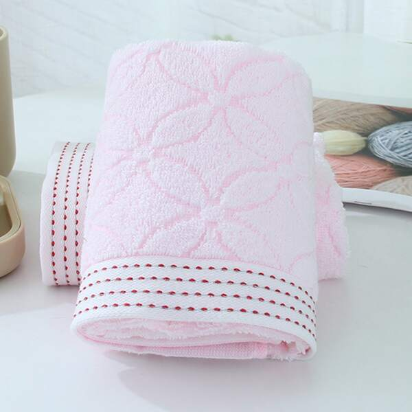 1pc Four Leaf Clover Pattern Towel, Pink