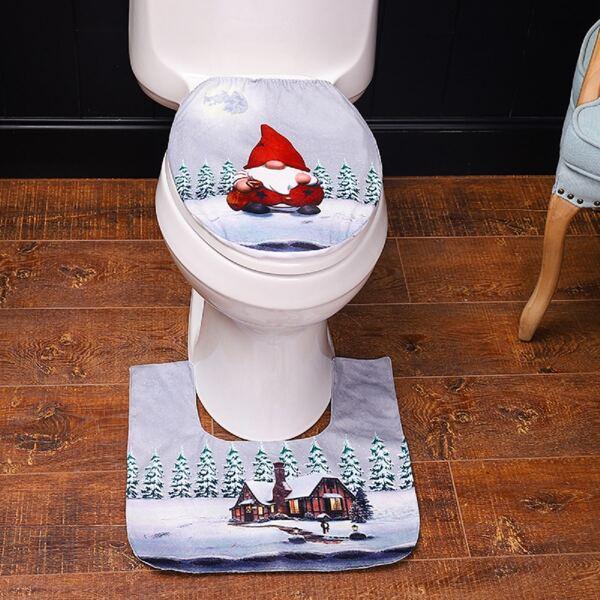 2pcs Christmas Santa Claus Print Closestool Mat, Multicolor