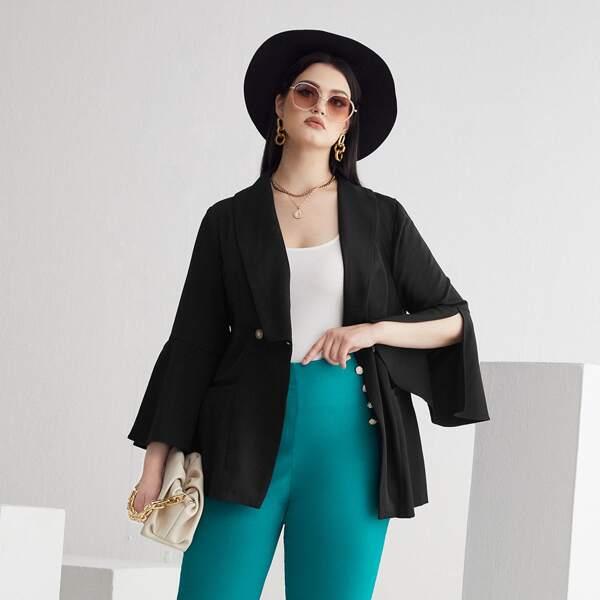Plus Shawl Collar Flounce Sleeve Double Button Blazer, Black