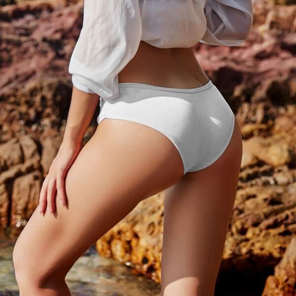 Solid Rib Panty, White