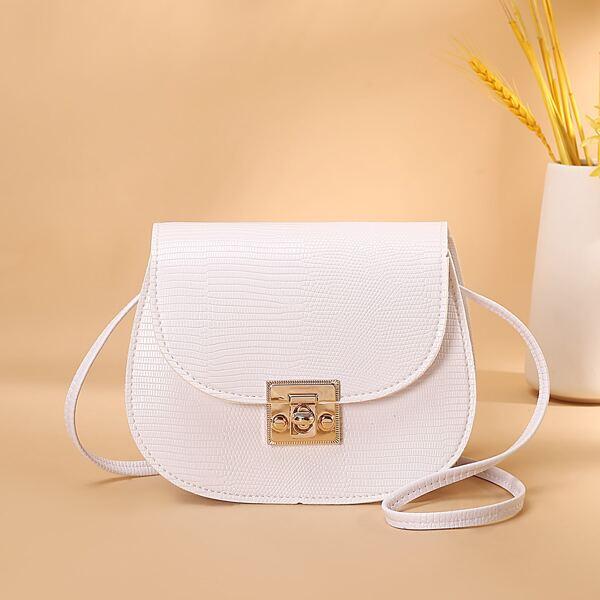 Croc Embossed Flap Saddle Bag, White