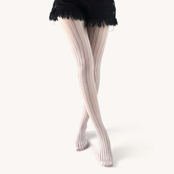 Hollow Out Tights, White