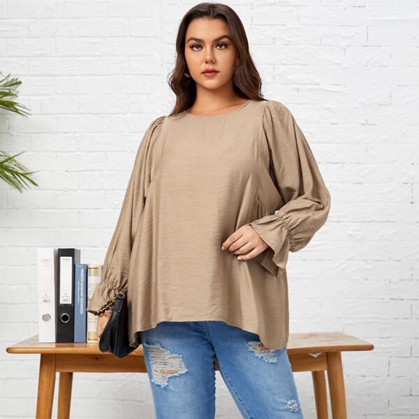 размера плюс Блуза с круглым воротником с рукавами-воланами, Хаки