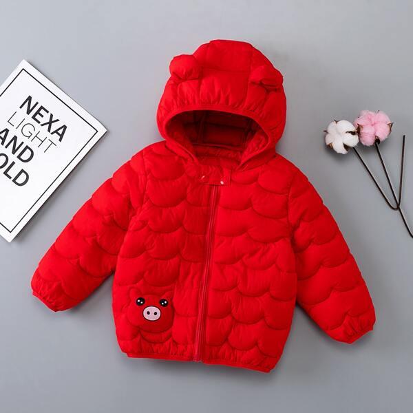 Toddler Boys Cartoon Print 3D Ear Hooded Winter Coat, Red