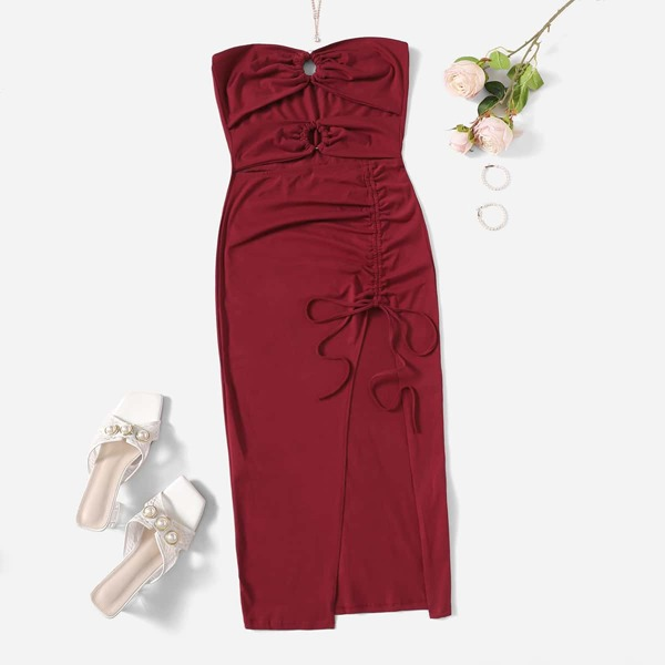 Plus Peekaboo Front Drawstring Ruched Split Thigh Tube Dress, Burgundy
