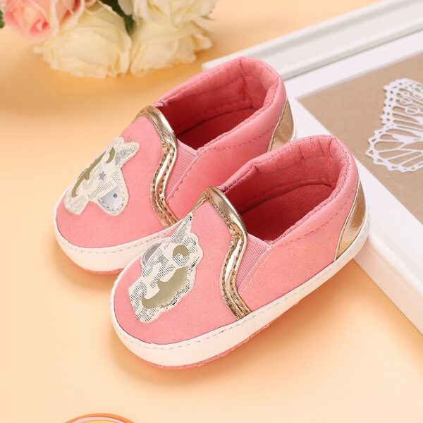 Baby Unicorn Appliques Slip On Shoes, Pink