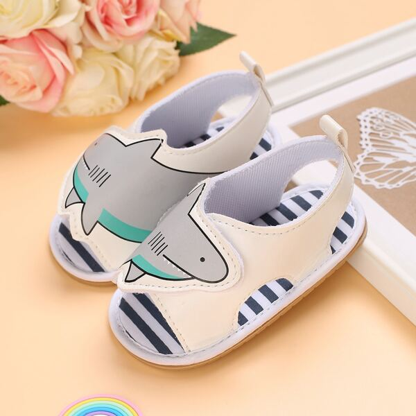 Baby Cartoon Graphic Slingback Sandals, White