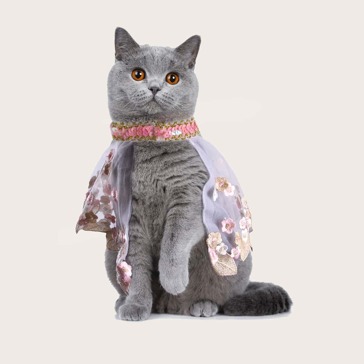 Flower Embroidery Pet Cloak