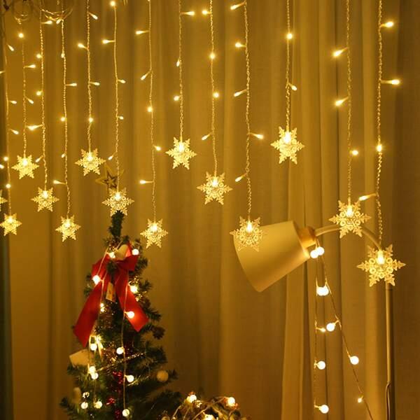 1pc Snowflake Shaped Bulb Decor String Light, Yellow