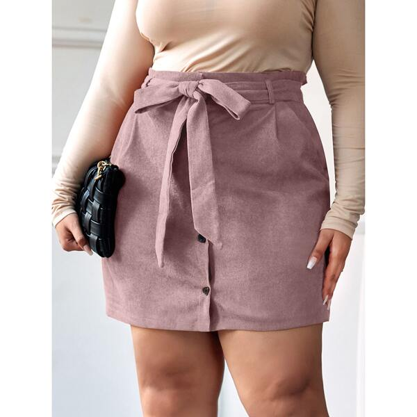Plus Solid Belted Button Through Corduroy Skirt, Pink