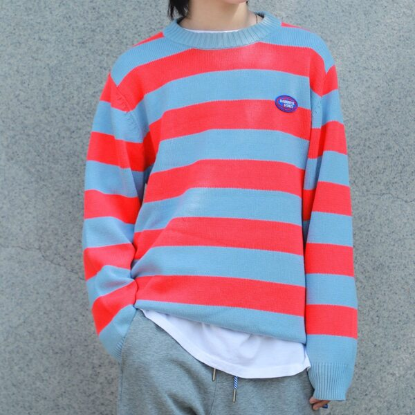 Boys Block Stripe Pattern Patched Detail Sweater, Multicolor