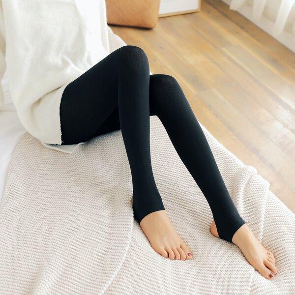 1pair Plain Leggings, Black