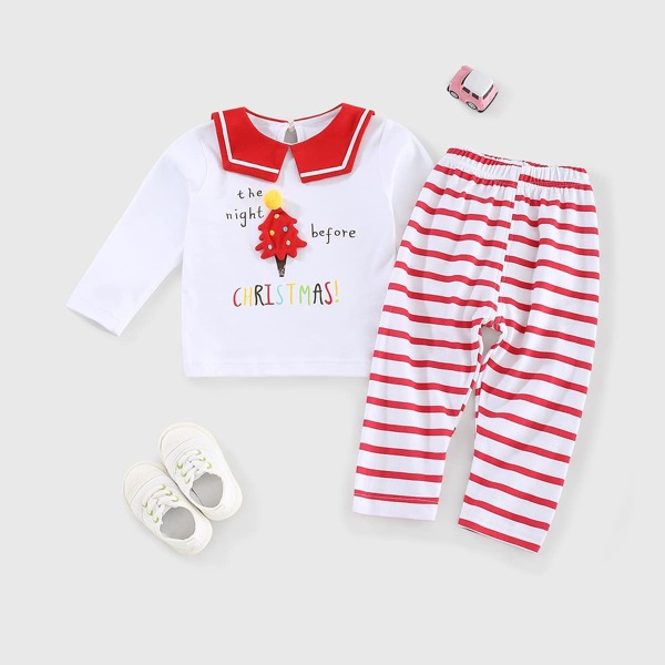 Toddler Girls Letter Graphic And Tree Print Sailor Collar Tee And Striped Pants, Red and white