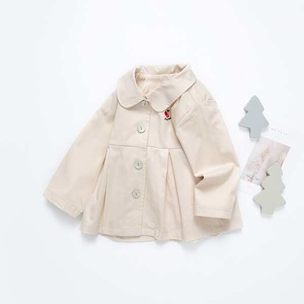 Toddler Girls Cherry & Letter Embroidery Peter-pan Collar Fold Pleated Coat, Apricot