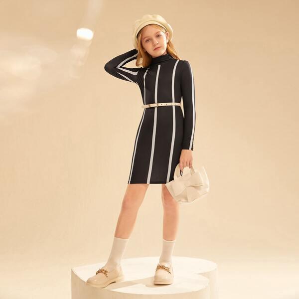 Girls Striped Print Turtleneck Dress Without Belt, Black and white