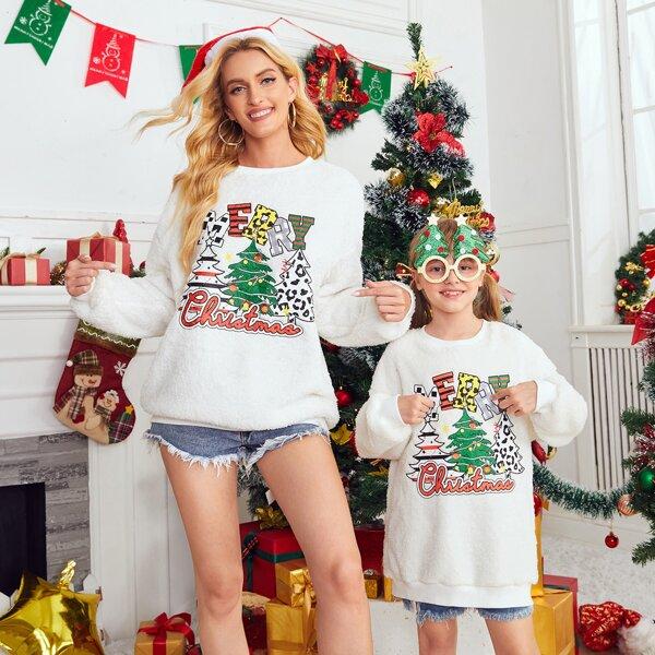 Girls 1pc Christmas Print Drop Shoulder Flannel Sweatshirt, White