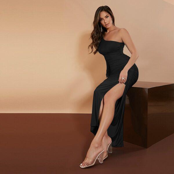 One Shoulder Ruched Split Hem Dress, Black