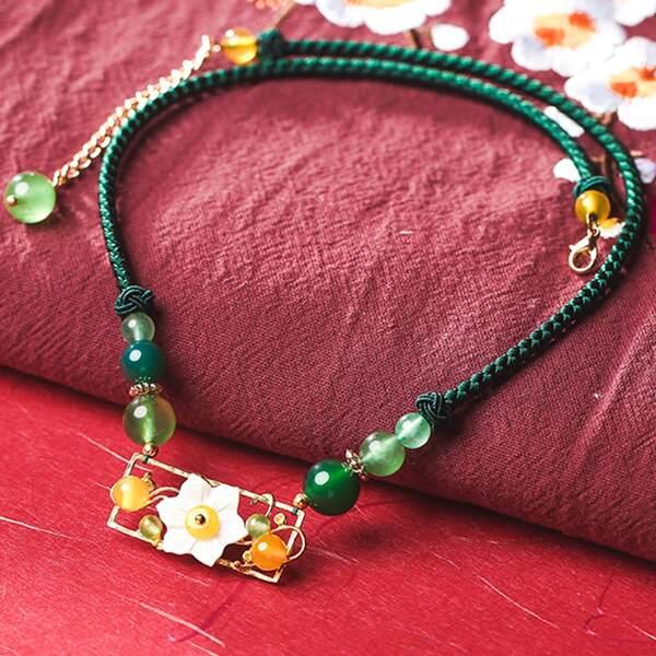 Flower Detail Necklace, Multicolor