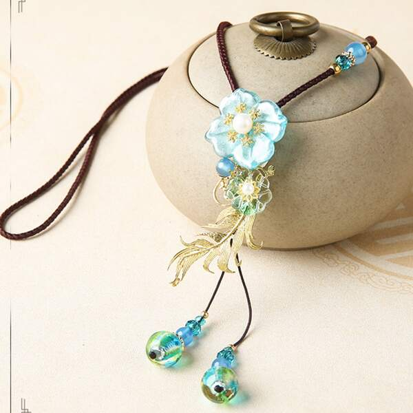 Flower Pendant Necklace, Multicolor