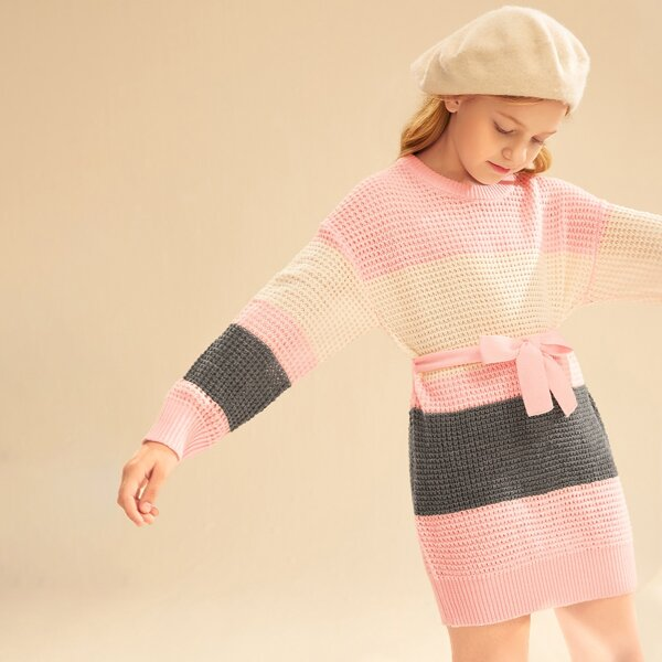Girls Cut And Sew Drop Shoulder Belted Sweater Dress, Multicolor