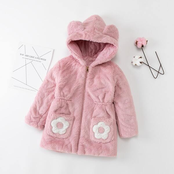 Girls Floral Patched Hooded Teddy Coat, Pink
