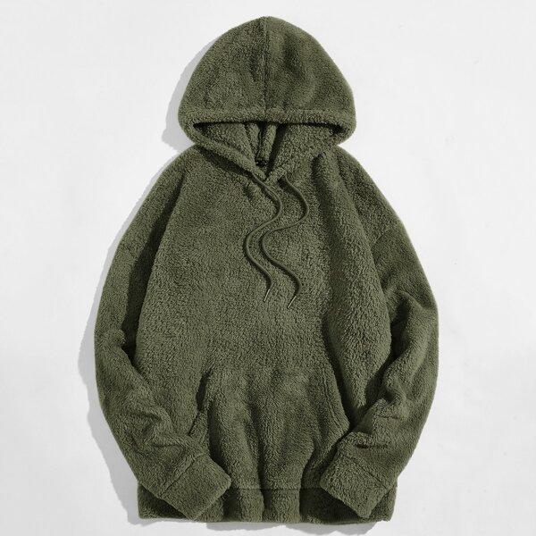 Men Drop Shoulder Teddy Drawstring Hoodie, Army green