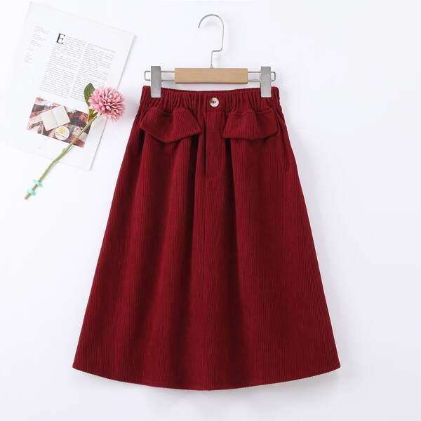 Girls Elastic Waist Flap Detail Corduroy Skirt, Burgundy