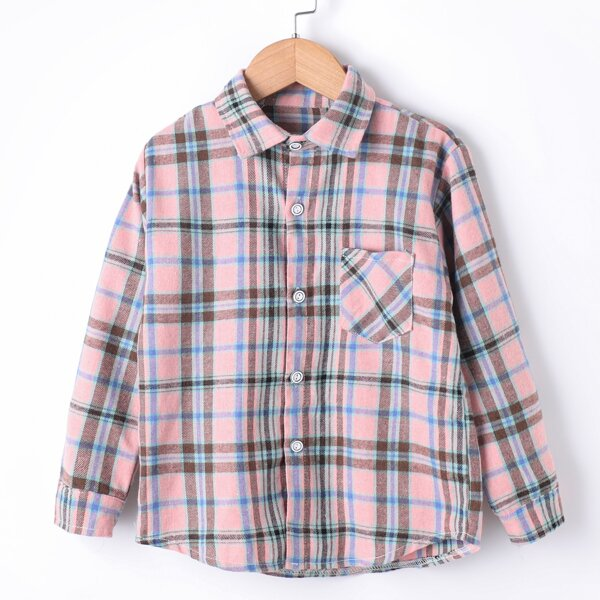 Boys Plaid Print Pocket Patched Shirt, Multicolor