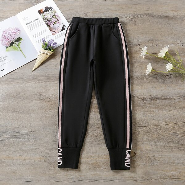 Girls Letter Graphic Contrast Tape Sweatpants, Black