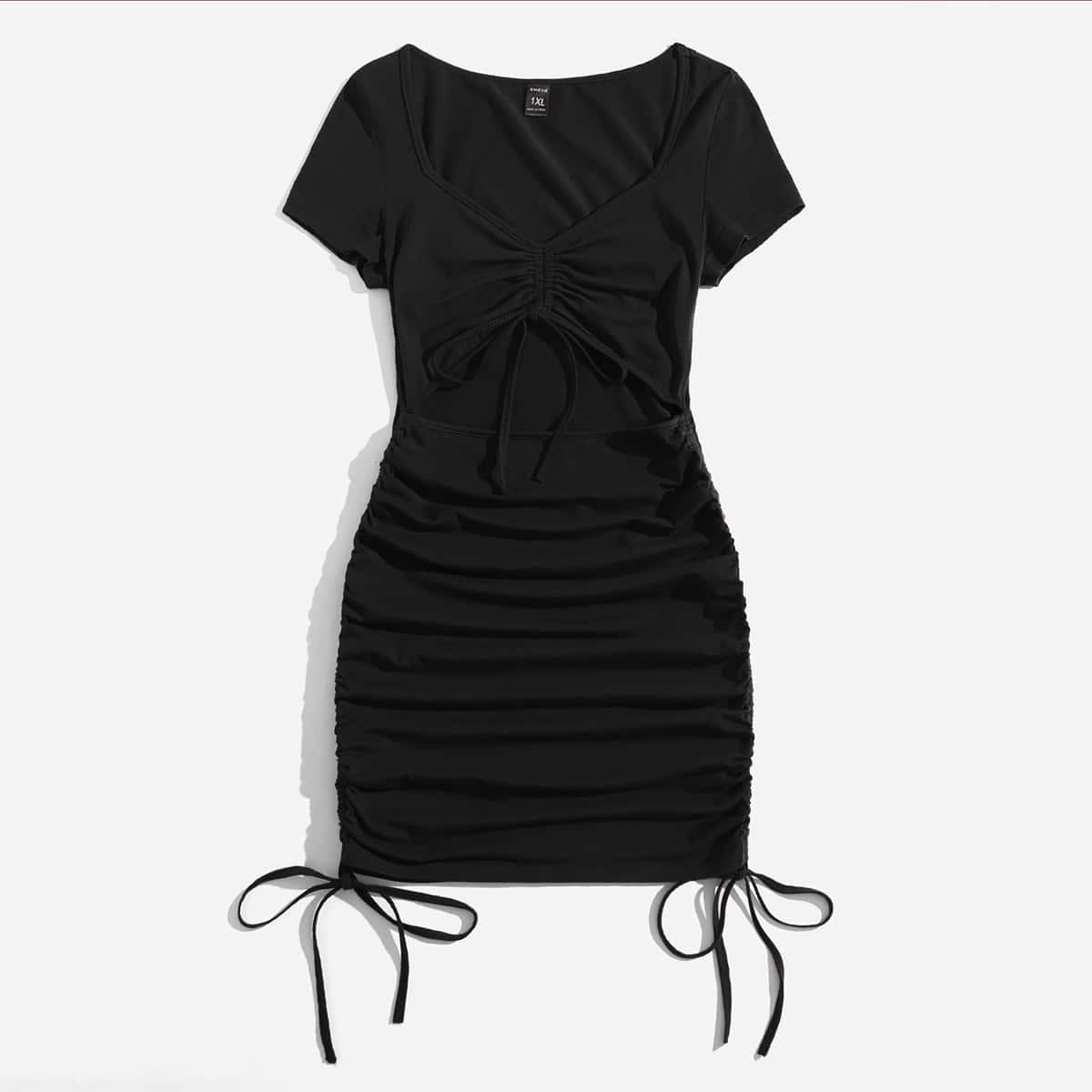 размера плюс Платье с разрезом на кулиске со сборками