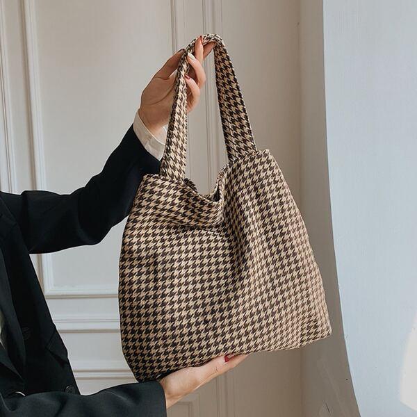 Houndstooth Pattern Shopper Bag, Multicolor