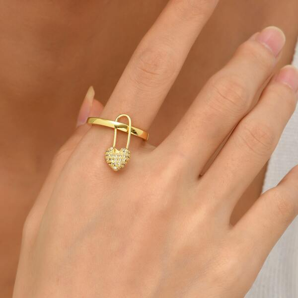 18K Gold Plated Heart Detail Cuff Ring