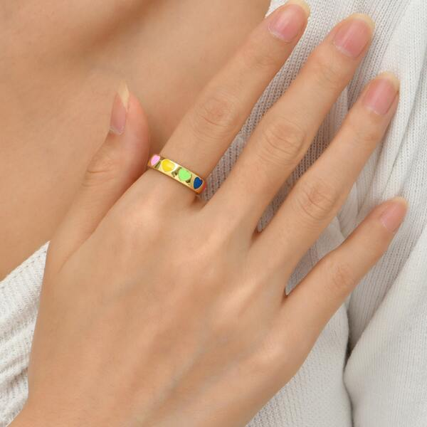 18K Gold Plated Heart Detail Cuff Ring, Multicolor
