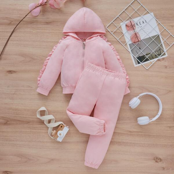 Toddler Girls Ruffle Detail Zip Front Sweatshirt & Sweatpants, Baby pink