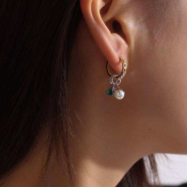 Natural Pearl Drop Earrings, Multicolor